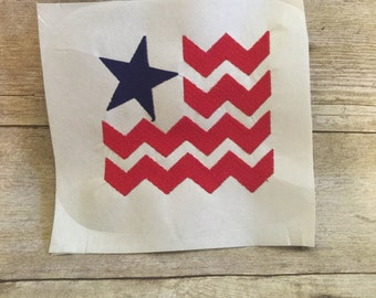 Chevron Flag Embroidery Design, Chevron flag Applique