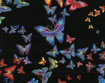 Timeless Treasures Metallic Butterflies Woven Cotton Fabric - By the Yard