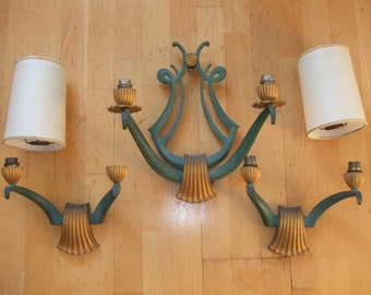 Genet & Michon French Art Deco cold painted bronze wall lights - set of 3