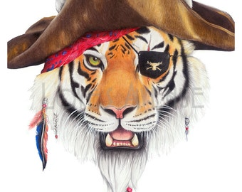 Captain Bud - Art Print A3 Pencil Drawing Illustration - Pirate Tiger