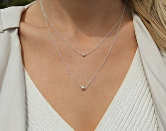 Silver necklace Set / 925 Sterling silver bead necklace / Two necklace set / Layering necklace / Delicate necklace