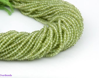 "14.5"" Full Strand 3mm Natural PERIDOT Rondelle Faceted Smooth Beads Gemstone Beads, Green Beads OV33"