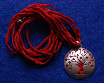 Hanging tree of life silver and silk