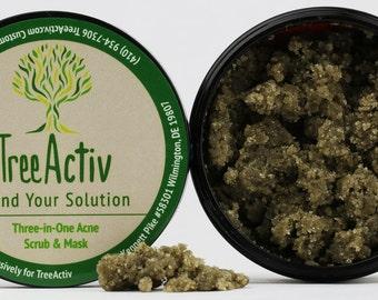 TreeActiv Anti Acne & Rosacea Treatment Sulfur Mask Plus Rhassoul, Bentonite ClayMask with WitchHazel - AloeVera-Refreshing Lemon Scent-4 Oz