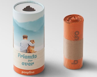 "NOVELTY!  pooplino gift box ""Buddy"" - waste bag dispenser + 50 eco-friendly dog waste bags / sanitary bags / waste bags / bags of feces"