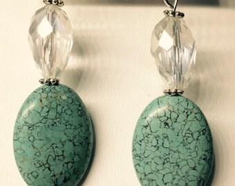 Turquoise and Teardrop Crystal Earrings
