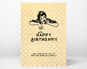 birthday card, greeting card, funny, whimsical, printable, 5x7, instant download, digital