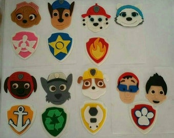 12 Paw Patrol edible fondant cake cupcake  and cookie toppers decorations