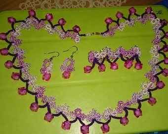 Pink and Purple Tatted Necklace Set