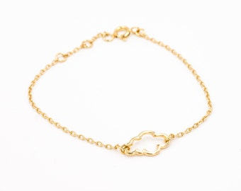 "Bracelet ""cloud"", gold plated 24 k, refined/minimalist/sleek/modern/french"