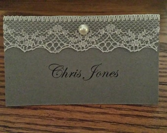 Grey/Lace Tent Style Seating Cards