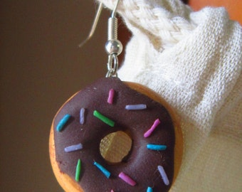 Colorful donuts french hooks earrings
