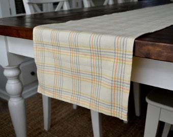 Spring Pastel Plaid Table Runner