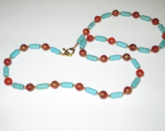 Magnesite, orange and gold long necklace
