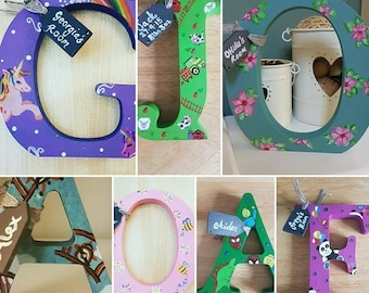 Handpainted personalised 12cm wooden letter made to order