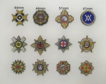 12 x Knighthood Orders on wood