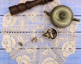 """Beige doilie 22"""" hand crochet /100% lace cotton/crochet doilies/lace doily/crocheted doilies/lace crochet doily/cotton doily/crocheted doily"""