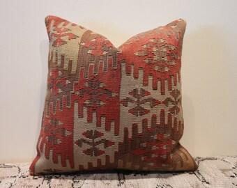 Turkish handwoven kilim pillow cover
