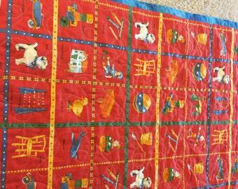 childrens vintage pattern quilt