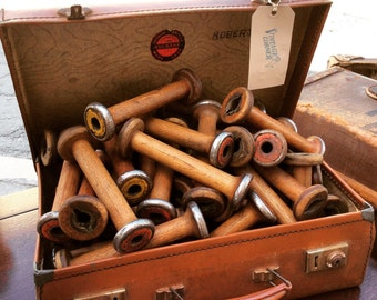 Vintage wooden Bobbins. Shop Display