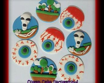 Edible Fondant Terraria Cupcake Toppers x 8 ... 4.5cms, Skullatron, Games