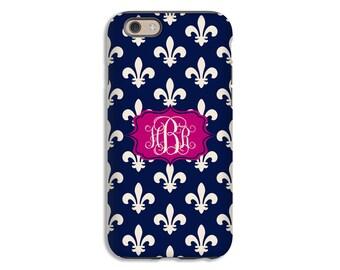 Fleur de lis iPhone 7 case, navy iPhone 7 Plus case, monogram iphone 6s/6s Plus/6/6 Plus/5s/5 cases, 3D iPhone cases, back to school