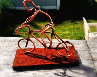 Copper Art Figurine cyclist / bicycle