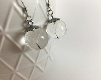 Make a Wish: Dandelion Seeds floating in Resin Sphere Earrings, Resin Earring, Resin Jewelry, Sphere Earrings, Christmas