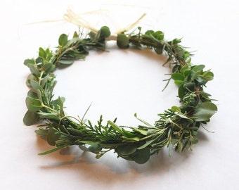 Fresh Garden Greenery Crown