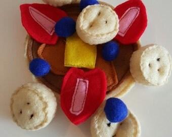 Pancake Play Food Set, Breakfast Play Food Set, Role Play Breakfast Set, Strawberries, Bueberries, Pancake, Banana Slices
