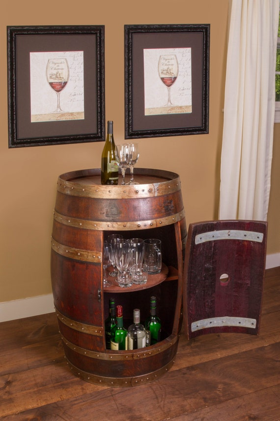 1017 Wine Barrel Cabinet Table With Storage Inside