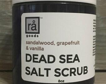 Dead Sea Salt Scrub Sandalwood Grapefruit Vanilla Exfoliating Scrub