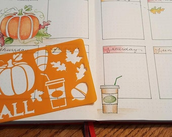 Fall themed Stencils for bullet journal bujo planner bible art journaling