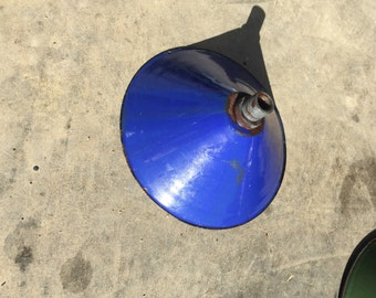 Vintage 1950s Enamel Blue Industrial Light