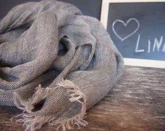 Linen Dark Grey Scarf, Linen Women Accessories, Linen Gift