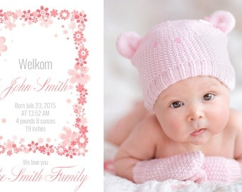 Birth Announcement Template for Photographers, Newborn template, Watercolor, Baby boy and Baby girl, Photoshop template photographer, PSD