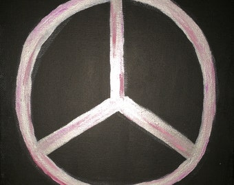 10 in. x 10 in. Peace Sign Canvas Painting