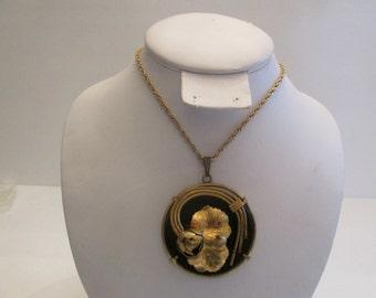 Massive Vintage Gold And Black Leaf Design Pendant Necklace