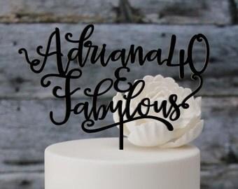 Birthday topper, Happy Anniversary 40 years, Birthday Cake Decor, Anniversary Happy Bithday Cake Topper