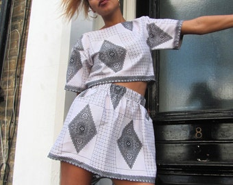 Crop top and mini skirt co-ord two piece festival summer black white set