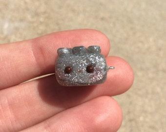 Silver Glittery Kawaii Lego Charm