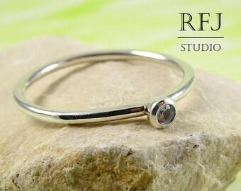 Lab Aquamarine Silver Ring, Ligth Blue CZ 2 mm Tiny Sterling Silver Ring Simulate Aquamarine Gemstone Birthstone Ring, 925 Blue Silver Ring