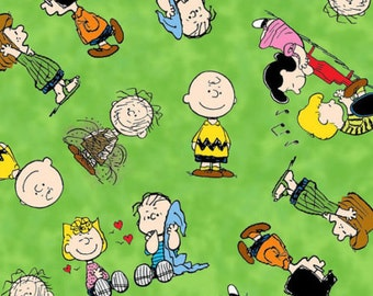 """Snoopy Cartoon Fabric: Happiness is Peanuts - Charlie Brown and Friends Green 100% cotton Fabric by the yard 36""""x43"""" (QT35)"""