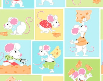 """Nursery Fabric / Susybee Fabric :  Norton the mouse Patchwork - Eating Cheese Fabric 100% cotton fabric by the yard 36""""x42"""" (SB65)"""