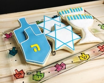 Handpainted Hanukkah Cookie Plate under 25 holiday gift Chanukkah