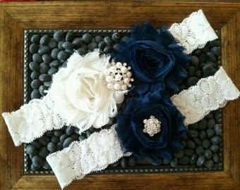 Wedding garter, Bridal Garter Set - IVORY  NAVY Flower Off White Lace Wedding Garter Set