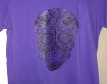 Purple skull tee, medium