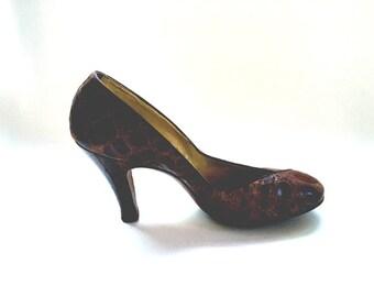 Vintage high heels Alligator shoes Brown pumps Alligator pumps Retro women's shoes 1940 shoes Glam shoes Retro Glam shoes Mad Men Shoes
