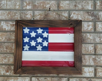 Wood framed hand painted United States flag on tin