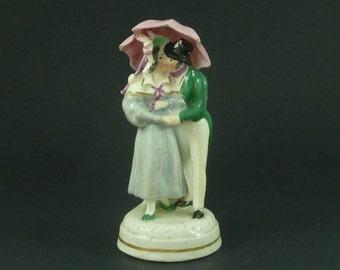 Kissing Lovers Umbrella Victorian English Staffordshire Porcelain Figure Antique